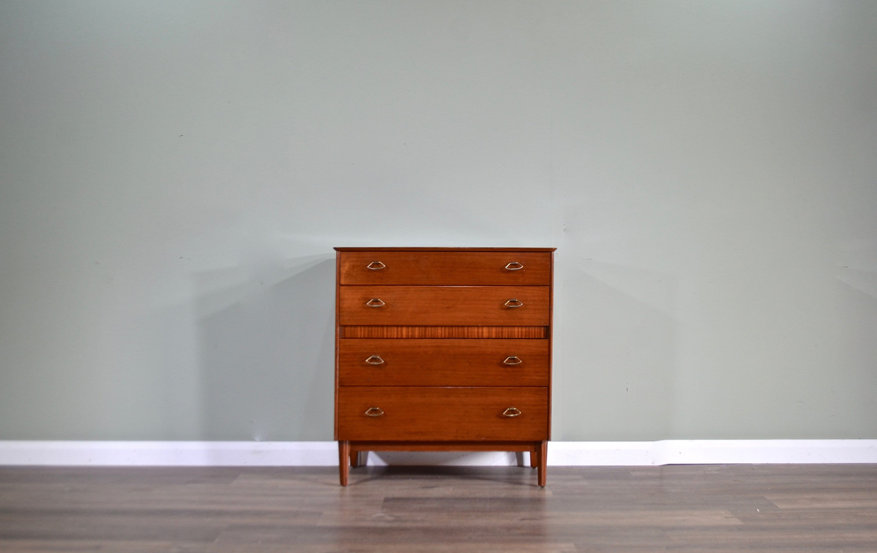 Midcentury 'Lebus' Teak and Brass Chest Of Drawers / Tallboy. Vintage Modern / Danish / Scandinavian Style . for sale