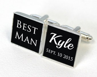 Black cuff links, engraved cufflinks, personalized metal cuff links, Best man gift, groomsman wedding gift