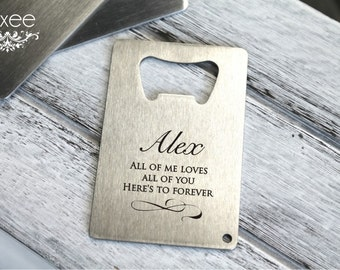 Groomsman gifts bottle opener credit card sized personalized personalized stainless steel bottle opener credit business card beer opener best man groomsman gift for him reheart Choice Image