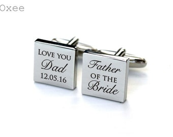 Cuff links, engraved cufflinks, personalized stainless steel, father of the bride