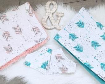 Teal, Blush or Gray/Navy Arrow Muslin & Minky Large Baby Blanket and Matching Bibdana Set