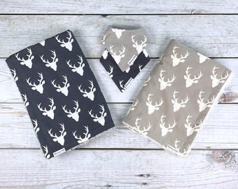 Light Grey or Navy Blue Buck Forest Large Blanket and Matching Baby Drool Bibdana