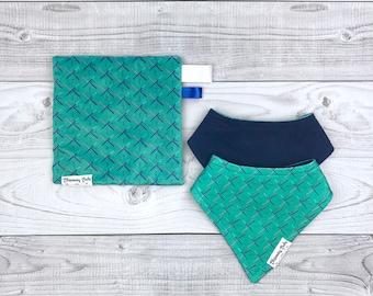 Portland PDX Airport Carpet Organic Jersey Knit Baby Drool Bibdana + Matching Minky Crinkle Sensory Toy