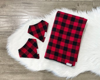 Red and Black Buffalo Plaid Flannel Baby Blanket and Matching Drool Bibdana