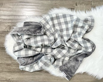 White and Gray Buffalo Plaid Flannel Baby Blanket