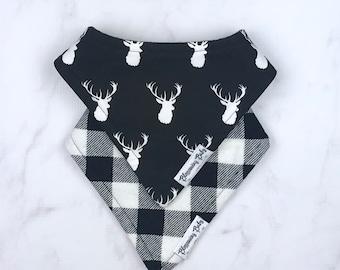 Black and White Deer or Black and White Buffalo Plaid Baby Drool Bibdanas