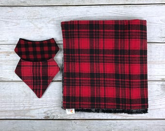 Red and Black Buffalo Plaid Flannel with Faux Fur Minky Baby Blanket and Bibdana
