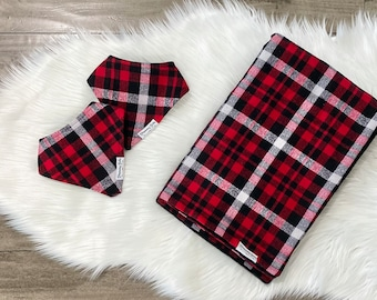 Red, Black and White Plaid Flannel Baby Blanket and Matching Drool Bibdana