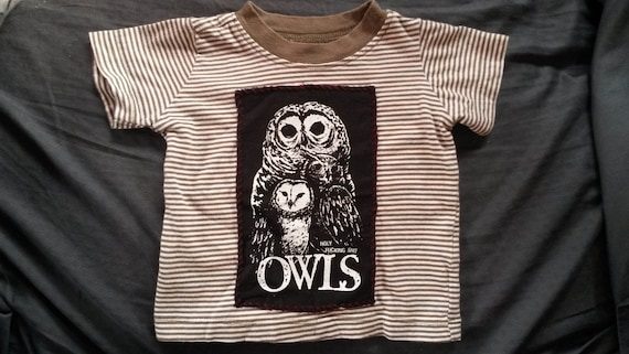Baby Shower Gift OWLS Punk Rock 3m Striped T-Shirt Unisex Cute Animal Nature Profanity 3mo Cool Unique Olive Green Handmade Patch