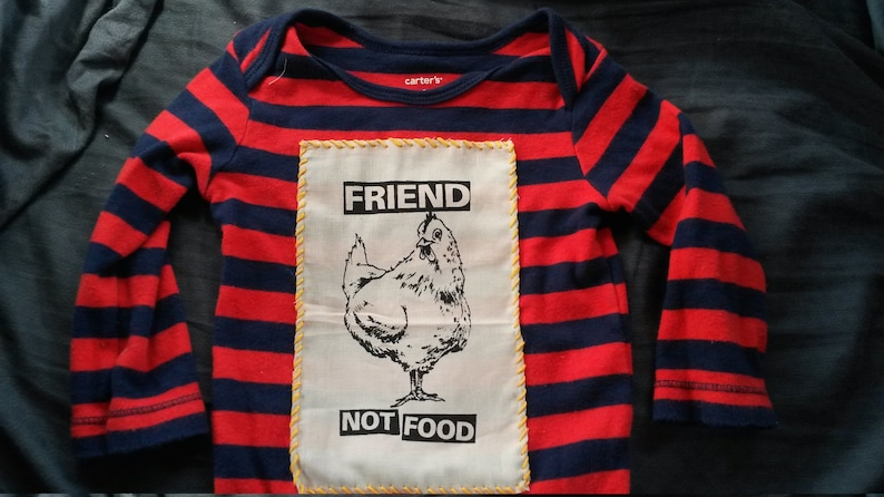 VeganVegetarian 6m CHICKEN FRIEND Onesie Infant 6 months Red Navy Striped Upcycled Handmade Patch Stripes Friend Not Food Thanksgiving Cute