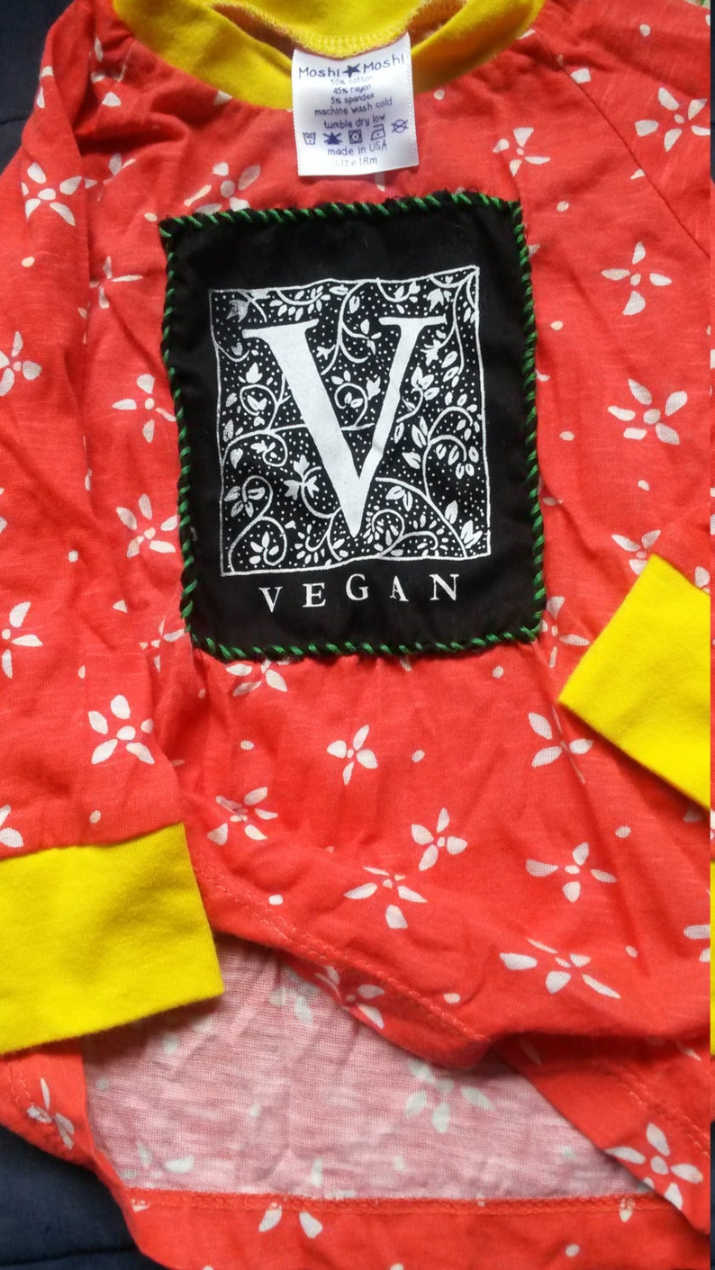 Unisex Long-Sleeved Comfy Shirt Upcycled Handmade Patch Clothes 18 months Pretty Cool Unique Vegetarian Comfy Pajama Top Mod Vegan Toddler