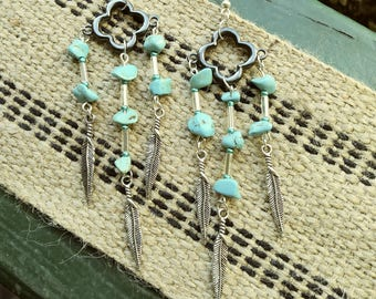 Triple beaded turquoise chandelier earrings with feather accents