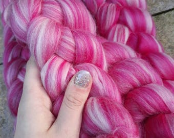 Custom blend roving - pink and white
