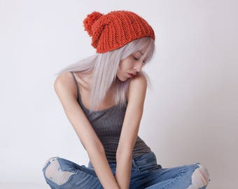 Knit hat, pom pom hat, orange beanie, wool winter hat, slouchy beanie, hand knitted bulky hat for women, christmas gift for her, accessories