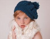 Womens pom pom hat, green slouchy beanie, knit winter hat, wool beret, fashion accessory, gifts for teen girls, warm handknit tam, trendy