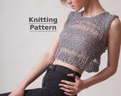 DIY knitting pattern, super easy for beginner knitters, boho crop top, sexy summer tank knit tutorial