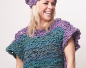 Short sleeved knit wool sweater, teal and purple knit blouse for women, warm bulky duochrome pullover, soft chunky jumper, cozy handknitted