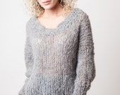 Grey sweater for women, alpaca sweater, soft and fluffy long sleeves pullover, lightweight warm sweater, winter cozy womens clothing, gifts
