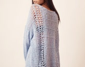 Long sweater, distressed knitted jumper with cable sleeves, oversized knit pullover, light blue, lavender sweater, soft alpaca boho sweater
