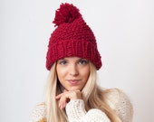 Chunky red knit beanie hat with pom pom, Valentine's Day gift for her