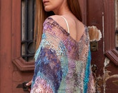 Summer oversized knit top with wide sleeves, eco friendly loose knit beach cover up for women