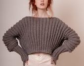 Cropped wool sweater with long puff sleeves in light brown, unique fashion piece