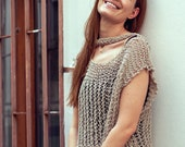 Cotton summer beige knit crop top, loose style blouse for women, one size