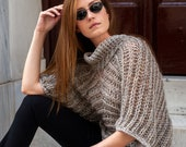 Knit sweater with short wide sleeves, loose fit jumper, wide cowl neck pullover in beige silver, one size