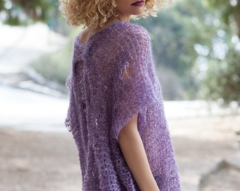 Mohair sweater for women, cable knit sexy alpaca sweater, loose sheer tunic, violet soft jumper, transparent silk mohair knit, boho sweaters