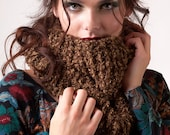 Brown knit cowl, chunky rich and warm neck scarf, winter accessory, women cowl scarves, soft fluffy cowl, single loop wrap, gift for ladies