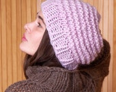 Pink beanie hat, handmade winter hat, womens accessory, bulky knit hat, wool handknit, warm snugly gift for girlfriend, valentines day gift