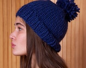 Blue pom pom knit hat, winter warm wool beanie, womens handknit accessory, knit skull cap, gift for her, navy blue beanie hat, fashion hat