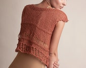 Cotton top, loose knit summer tank, ocher color, trendy orange knit blouse, short sleeves tee, womens fashion clothes