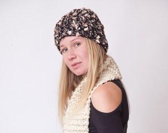 dd2ce3db43 Handknit black hat sparkly beanie classy knit hat fashion