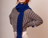 Handknit wool scarf in blue, xtra long and skinny, in many available colors