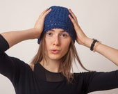 Crochet wool hat in navy blue, adult size beanie, gift for women, warm winter accessory