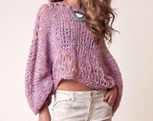 Alpaca sweater, Cropped Pink Sweater for women, knitted loose jumper, spring knitwear, knit clothes, boho wear, hippie style, grunge tops