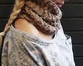 Taupe bulky scarf, single loop cowl, wool alpaca, soft neck wrap, winter accessory, knitted scarves, womens neck warmer, warm circle scarf