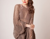 Knit oversized poncho, linen cotton chocolate brown boho beach cover up with batwing sleeves, loose knit summer sweater, bohemian style knit