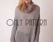 How to knit a sweater, knitting pattern of long pullover, DIY project, slouchy sweater tutorial, intermediate knitters sweater patterns