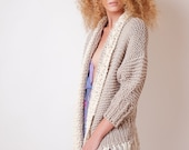 Knit cardigan, beige open sweater, fall jumper with fringes, one size plus clothing, cozy clothing for women