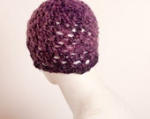 Knit chunky hat, purple shimmering color, crochet winter beanie, open lace stitch, fashion cap for women, fashion gift idea, OOAK cap hat