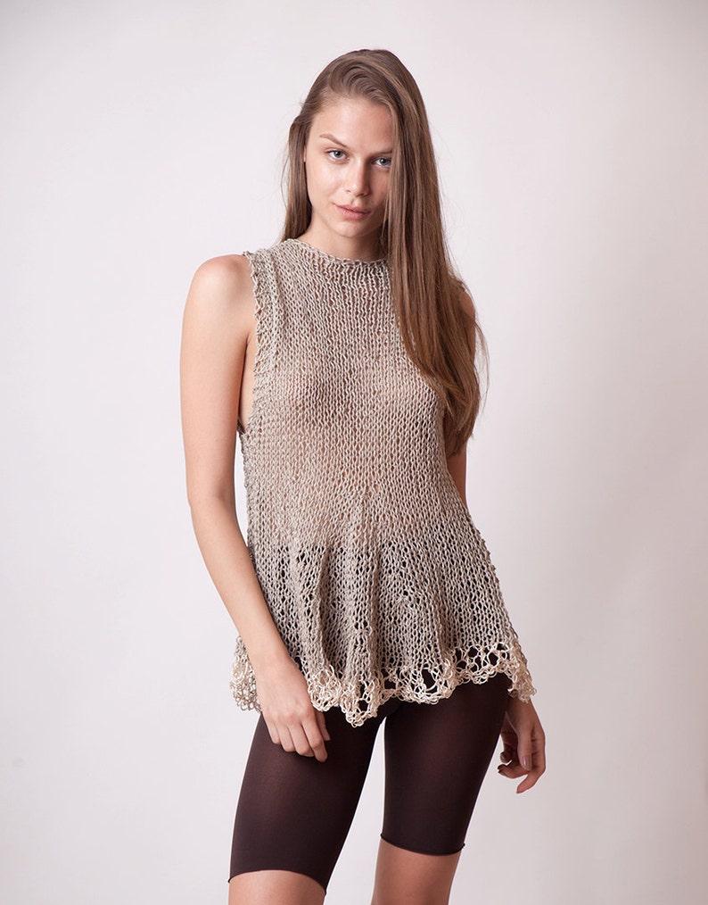 6b6349c8a9b026 Linen top cotton sleeveless knit top beige women tunic