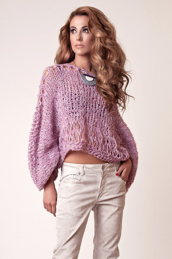 Alpaca sweater Cropped Pink Sweater for women knitted loose