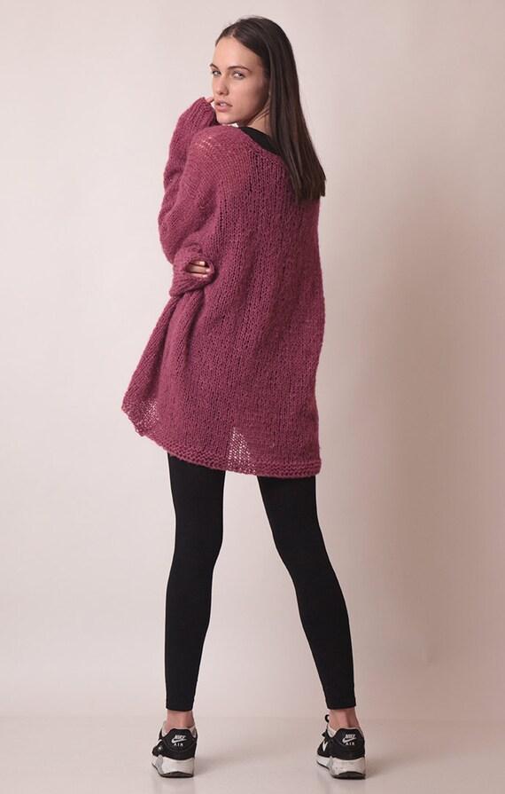 Lange Pullover, übergroße ziehen, Alpaka Seide Pullover Kleid, v Ausschnitt mit langen Ärmeln, meliert Pullover, altrosa Pullover, weichen leicht