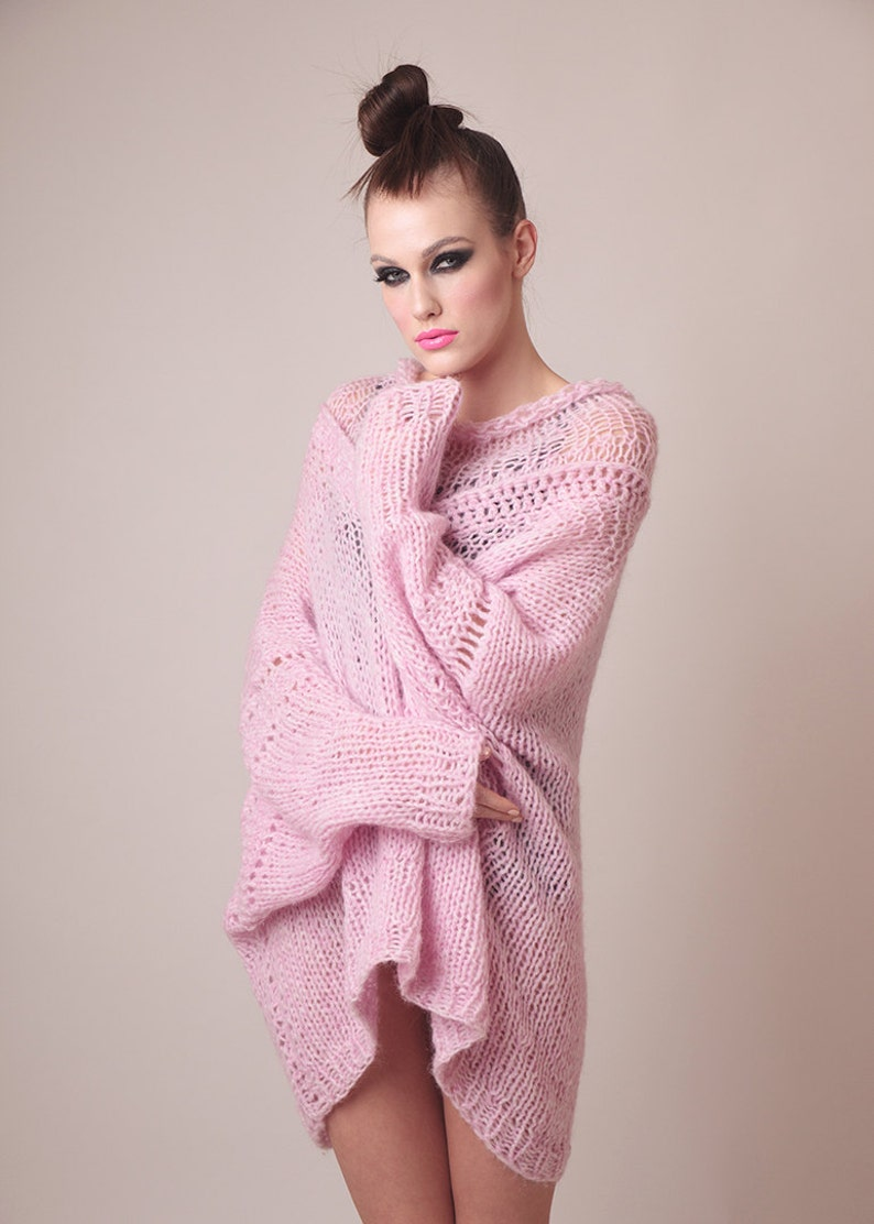 ab60f0dab Oversized knit sweater dress plus size clothing pink soft