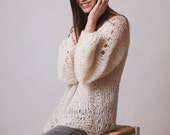 Loose knit sweater, long jumper, oversize alpaca knit, grunge clothing, soft, hippie clothing, hygge knitwear, fluffy jumper, ivory pullover