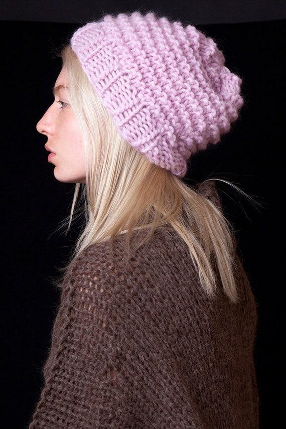 Pink beanie hat handmade winter hat womens accessory bulky  febc22a4de1d