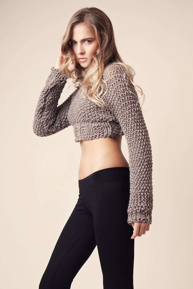 Corta maglione maglia marrone chiaro maglieria di lana  b124bd4899a
