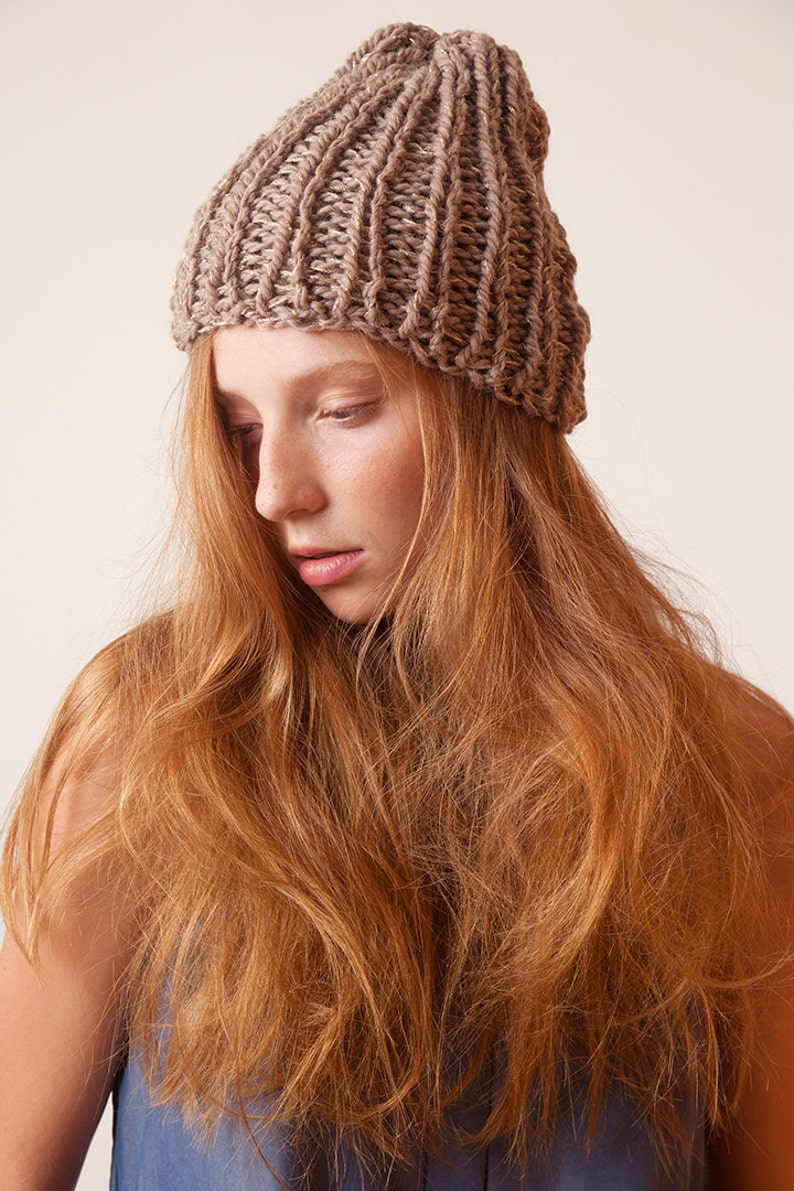 Beige knit beanie with golden details bulky beanie hat knit accessory ready to go winter hat beanie gift for girls womens chunky hat